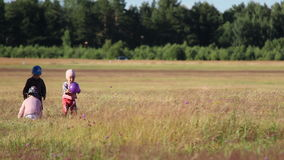 Three children playing together in a field stock video