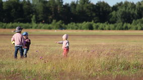 Three children playing together in a field stock video footage