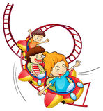 Three children riding in a roller coaster Stock Photos