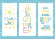 Three children s layout with labels Little star, Be like children, Boy. Baby background. Poster. Invitation. Birth of child stock illustration