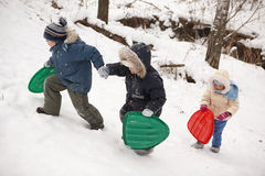 Three children with sledges Stock Photography