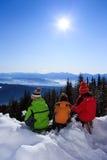 Three children in snow Royalty Free Stock Image