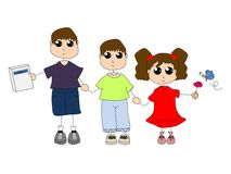 Three children. Two boys and a girl holding hands Royalty Free Stock Photos