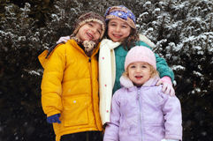 Three children winter portrait. Three cute little children posing for a photo, wearing warm, winter clothes. Snow-covered trees in the background Royalty Free Stock Photo