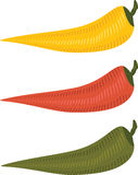 Three chili peppers Stock Images