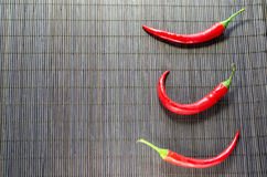 Three Chili Peppers Royalty Free Stock Images