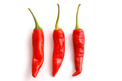 Three chilli peppers Stock Photo