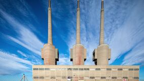 Three chimneys disused power station in barcelona