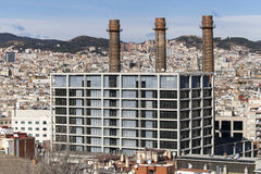The Three Chimneys of Poble Sec Stock Photography