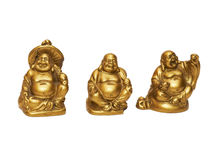 Three china gold statuette. With isolated royalty free stock image