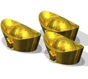 Three Chinese Gold Ingots Stock Image