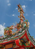 Three Chinese golden dragons in sunny day Stock Photography
