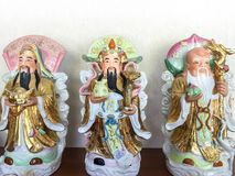 Three Chinese lucky gods Good Fortune Fu,Hok, Prosperity Lu,Lok, and Longevity Shou,Siu. Statue stock image