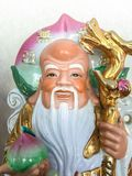 Three Chinese lucky gods Good Fortune Fu, Hok, Prosperity Lu, Lok, and Longevity Shou, Siu. Statue stock photography