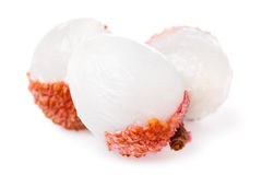 Three Chinese lychee isolated on white background Stock Images