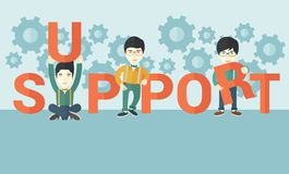 Three chinese men standing in the word support Stock Photo