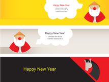 Three chinese new year banners. With santa claus and horse Stock Image