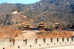 Three chinese pagoda and Great Wall(China) Royalty Free Stock Image