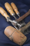 Three chisels and a mallets Stock Photography