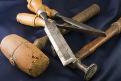 Three chisels and a mallets Royalty Free Stock Photography