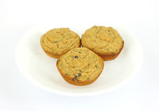 Three chocolate chip muffins Royalty Free Stock Photo