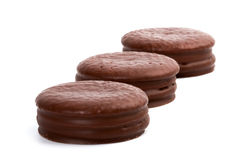 Three chocolate cookies Royalty Free Stock Images