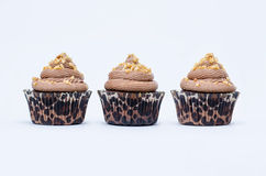 Three chocolate cupcakes Stock Photo