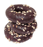 Three chocolate donuts Stock Photos