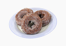 Three Chocolate Donuts Overhead View Royalty Free Stock Image