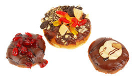 Three Chocolate Doughnut Royalty Free Stock Photography