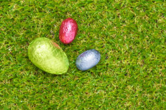 Three Chocolate Easter eggs Royalty Free Stock Photography