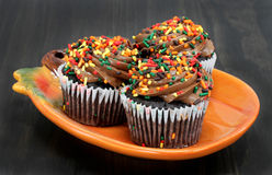 Three chocolate fall decorated cupcakes on a pumpkin plate. Royalty Free Stock Image