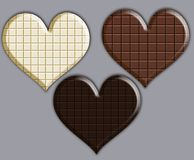 Three chocolate hearts Royalty Free Stock Photography