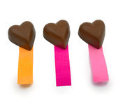 Three chocolate hearts notes Stock Photography
