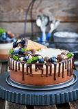 Three chocolate mousse cake decorated with waffle cone, fresh bl Royalty Free Stock Photography
