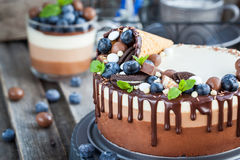 Three chocolate mousse cake decorated with waffle cone, fresh bl Stock Images