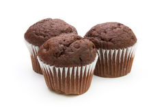 Three chocolate muffins Stock Images