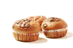 Three chocolate muffins Royalty Free Stock Photos
