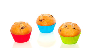 Three chocolate muffins Royalty Free Stock Images