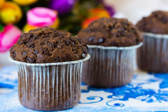 Three chocolate muffins. Chocolate muffins on the board written under gzhel Stock Images