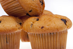 Three chocolate muffins isolated on a white Stock Images