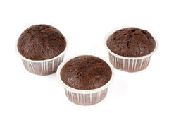 Three chocolate muffins Stock Photo