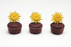 Three chocolate muffins Stock Images
