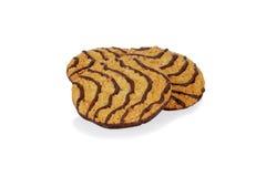 Three chocolate stripe cookies Stock Images