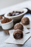 Three Chocolate Truffles with Cocoa Powder Stock Photos