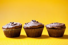 Three chocolate velvet cupcakes with dark chocolate ice cream Royalty Free Stock Photo