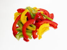 Three chopped peppers on the mirror Stock Photo