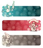 Three chrismas banners with snowmans Royalty Free Stock Photography