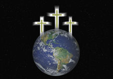Three Christian Crosses Hover Over Earth royalty free stock images