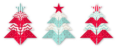 Three christmas abstract origami trees Stock Images